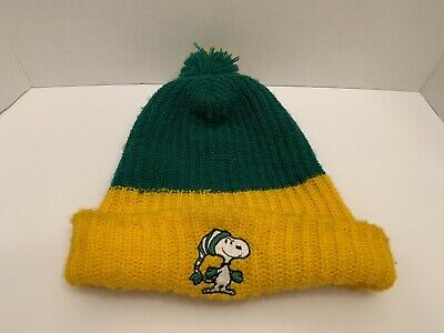 3c96069a92c63 Vintage Peanuts SNOOPY Winter Beanie Pom Knit Ski Hat Cap Green Yellow