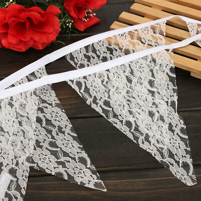 2.5M Vintage White Lace Flower Flags Bunting Banner Garlands Wedding Party  ❤