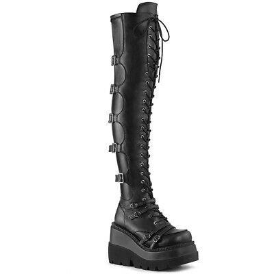 Black Thigh High Platform Combat Punk Gothic Lolita Fetish Vampire Demonia Boots