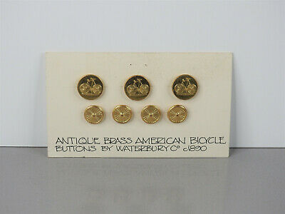 """RARE! Antique Original c.1890 BRASS AMERICAN BICYCLE """"Waterbury Co"""" BUTTONS"""