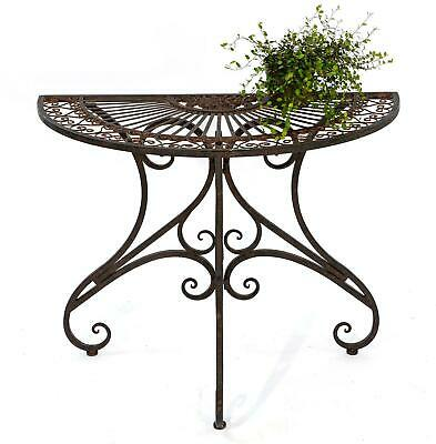 Table Half-Round Wall Table Metal 19511 Garden 90cm Console Table Antique Brown