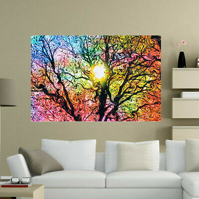 Psychedelic Trippy Tree Abstract Sun Art Silk Cloth Poster Home Decor 33×50cm