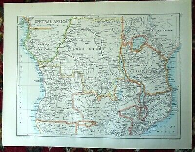 Antique MAP ~ CENTRAL AFRICA AFRICAN ~ Bartholomew c1892