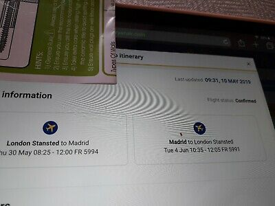 2 Direct Return Flights Stansted to Madrid for the Champions League Final.
