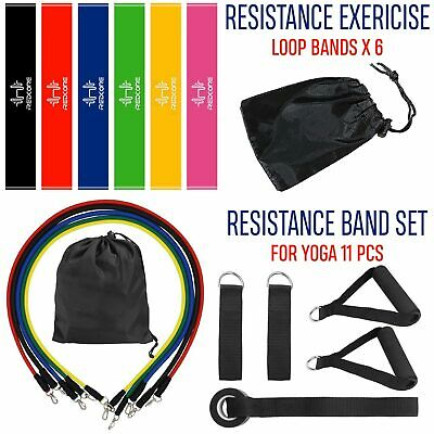 New 6 Resistance Bands Workout Exercise Yoga 11 Piece Set Crossfit Fitness Tubes