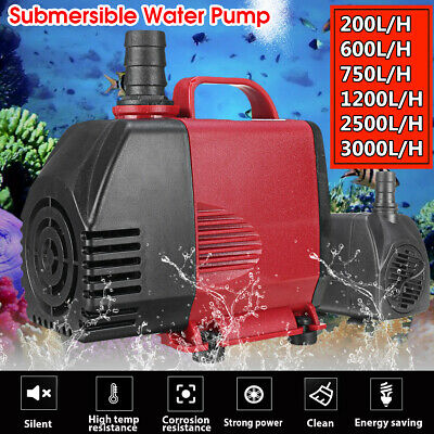 220-3000L/H Submersible Water Pump Fish Pond Aquarium Tank Fountain Sump Feature