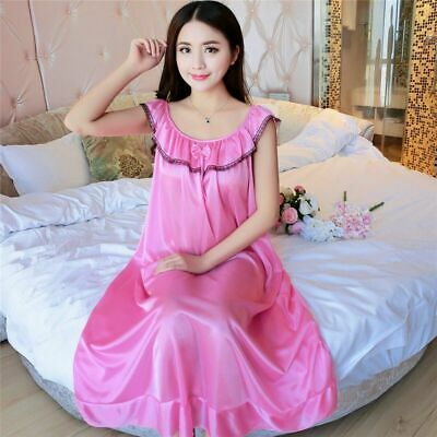 Women's Silk Satin Long Sleepwear  Pajamas Bowknot Sexy Nightgown Home Nightwear