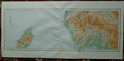 Antique MAP ~ WESTMORLAND and ISLE OF MAN ~ Cloth Backed O.S. 1922
