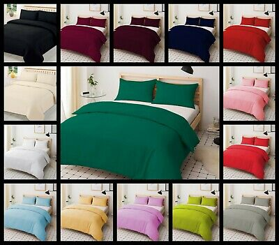 Plain Dyed Duvet Quilt Cover Set Poly-Cotton With Pillow Case Easy Care Bed Set