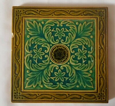 Elegant English Majolica 19Th Century Symmetrical Floral Design Tile