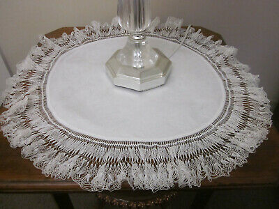 Large Round Hairpin Lace Edged Damask Linen Tablecentre