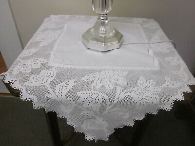 Gorgeous Snow White Filet Crochet Lace Deep Border Tablecloth