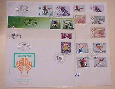 Yugoslavia  8 Diff. Fdc Ice Hockey,Soccer, Basketball Cachet Unaddressed