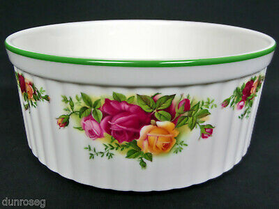 """OLD COUNTRY ROSES 18cm, 7"""" SOUFFLE DISH, 1st QUALITY, VGC, ENGLAND, ROYAL ALBERT"""