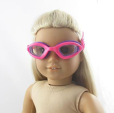 Doll Clothes Swim Goggles Bright Pink with Purple fit 18 inch American Girl