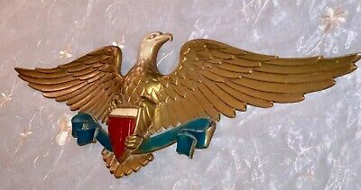 "Vintage Signed Sexton LG USA EAGLE Gold METAL Wall Plaque 27"" W x 9"" H 1950-60's"