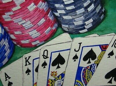 Watercolor Panting Casino Las Vegas Game Playing Cards Chips ACEO Art