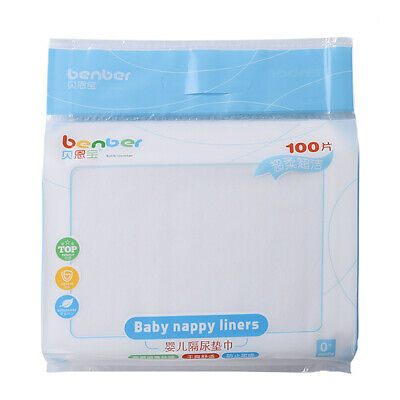 100PCS Disposable Baby Infant Kids Thin Soft Fabric Diaper Nappy Liners insert