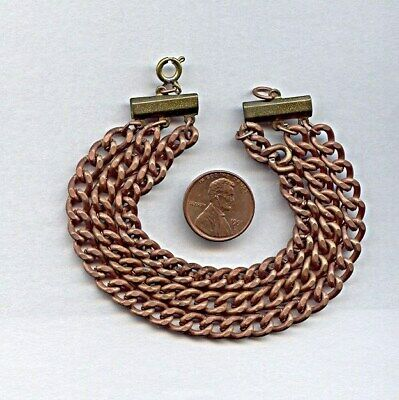 """1 Vintage Brass Copper Coated Steel Curb Chain 3 Strand 8"""" Deco Bracelet T35"""