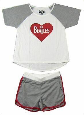 Beatles Heart Logo Girls Juniors Night Shirt & Short Set New Official Merch