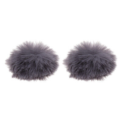 Artificial Fur Wind Cover Microphone Furry Windscreen Muff Gray, 2Pcs