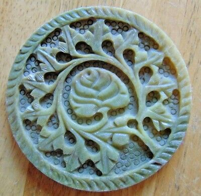 Old Oriental Carved Solid Hard Stone Jade? Round Plaque Or Coaster