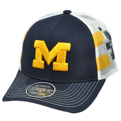 hot sale online c5a19 cab87 NCAA Zephyr Michigan Wolverines Mesh Snapback Hat Cap Curved Bill Navy Blue