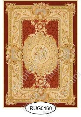 Miniature Dollhouse Rug 1:12 Scale -Red French Aubusson Rug - 0160 (Small)
