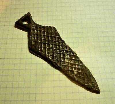 Ancient Celtic Votive Bronze Knife Amulet Pendant.