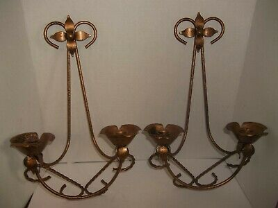 """2 Rustic Shabby Chic Copper Tone DOUBLE ARM Flower SCONCE WALL CANDLE HOLDER 17"""""""
