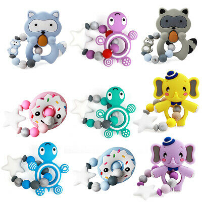 Baby Teether Silicone Beads Teething Toy Bead Bracelet Pendant Chewing BPA Free