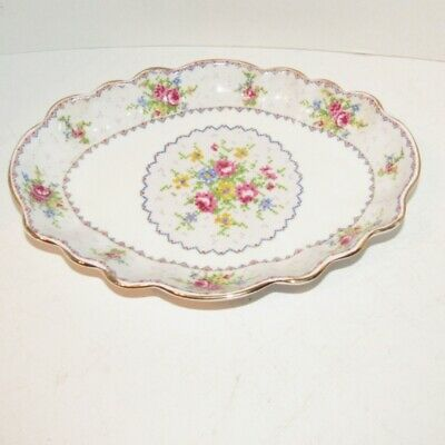 Royal Albert Petit Point Jubilee Platter Oval Scallop Bowl Rare Vintage England