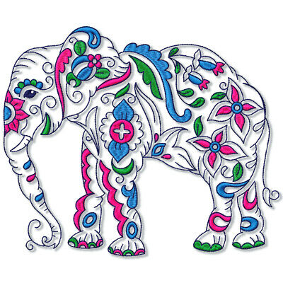 SPECTACULAR ELEPHANTS 20 MACHINE EMBROIDERY DESIGNS CD or USB 5 sizes included