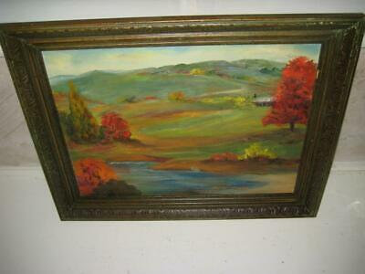 "Vintage Signed Framed Original Oil Painting On Board ~ Nelle O'Neal ~ 17"" X 13"""