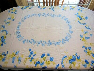 Vintage LEACOCK SWEET PEA Tablecloth Blue Floral Green Vines