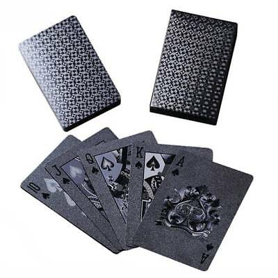 1 Pack Waterproof Black Playing Cards Collection Plastic Decks Card Games Deck