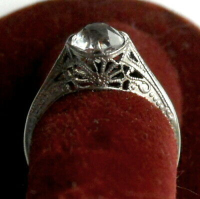 Antique ART DECO Sterling Silver Filigree Crystal Solitaire RING IN BOX Sz 8