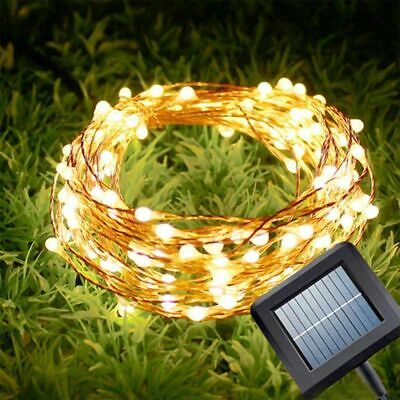 10M 20M LED Solar String Lights Waterproof Copper Wire Fairy Outdoor Garden Xmas