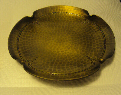 Vintage Roycroft Hammered Copper Round Tray Bowl ~ Signed