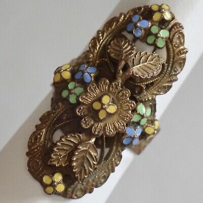 Antique Art Deco Brass Enamel Flower Leaf Ring