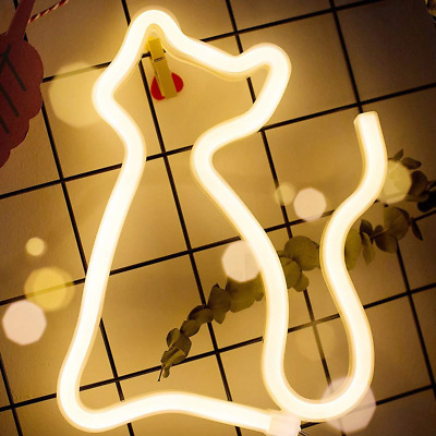 Neon Cat Light Sign- XIYUNTE Cat Neon Lights Wall Lamp Room Decor, Battery and