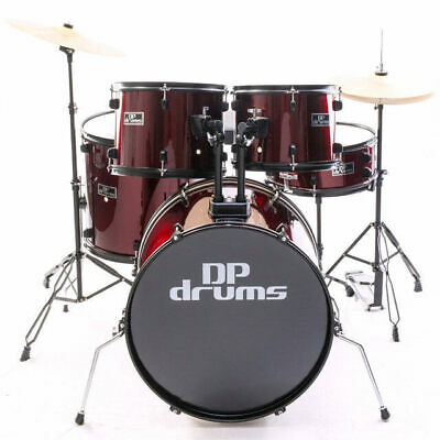 New!!! 5 Piece Drum Kit Full Size Complete Set Cymbals Stool Wine Red DP Drums