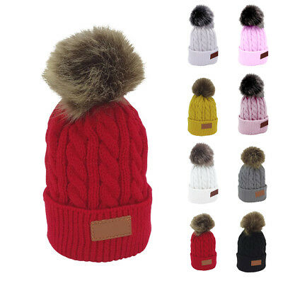 Kids Winter Warm Knitted Bobble Hat Plain Beanie Pom Pom Ball Ski Skull Cap Hat