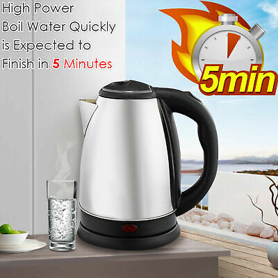 Premium Stainless Steel2.0L Electric Kettle Indicator Light 360° Cordless Silver