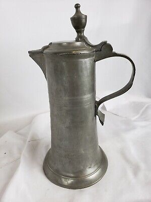 """Superb antique French ? pewter tankard, large, no marks 11"""""""