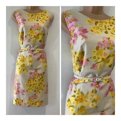 Vintage 70's Cream Pink & Yellow Floral Print Sleeveless Belted Dress Size 16