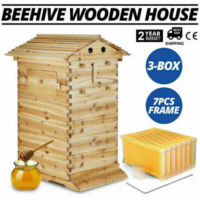 New 7PCS Auto Flow Honey Hive Beehive Frames + 3-Box Beekeeping Wooden House Up