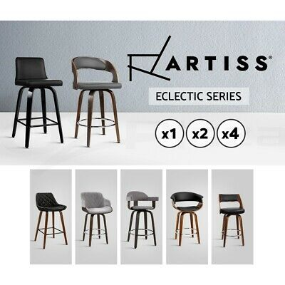 Artiss Kitchen Bar Stools Wooden Bar Stool Swivel Chairs Leather Black White