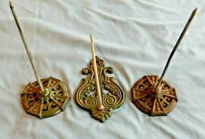 Lot of 3 Vintage Antique Ornate Cast Iron Metal Spike Receipt Holders Desk Wall