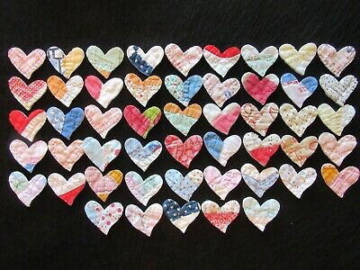 Huge Lot Of 50 Small Vtg Cutter Quilt Hearts - Scrapbooking - Appliques!